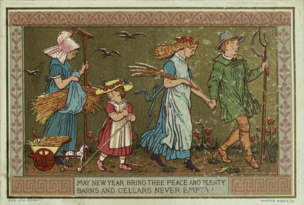 Victorian New Year card (c.1868-1878): Greeting card published by Marcus Ward & Co