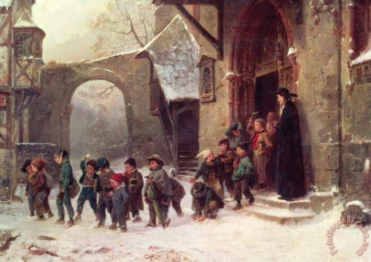 victorian-painting-snow-scene-children-leaving-school-by-marc-louis-benjamin-vautier