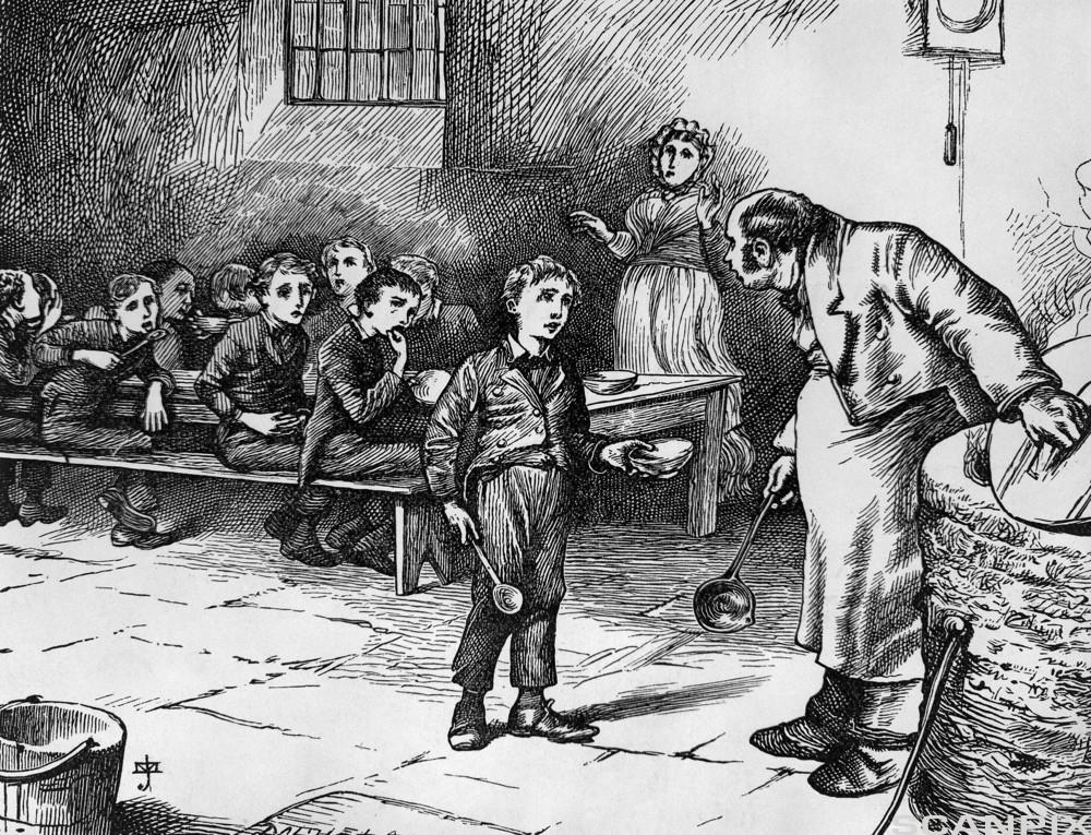 Illustration Depicting Oliver Twist Asking for More Food by J. Mahoney