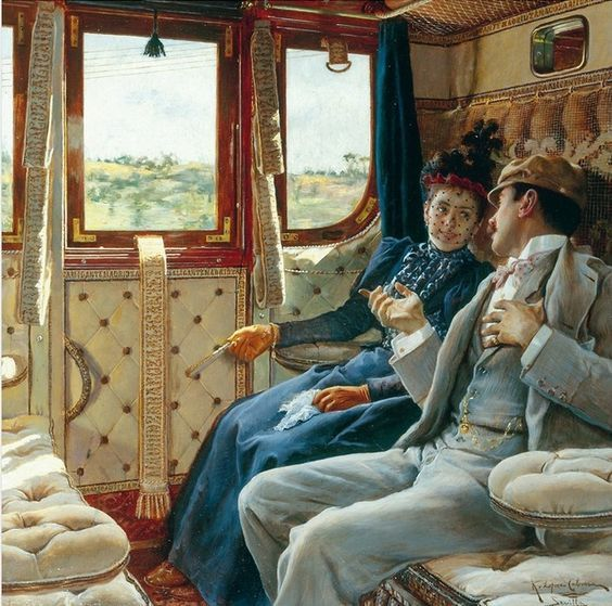 couple in a train compartment ricardo lopez cabrera 1895