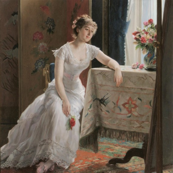 Girl With A Rose by Gustave-Leonard de Jonghe 1